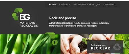 Site criado para BG Materiais Recicláveis