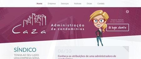 Site criado para Caza Administração de Condomínios