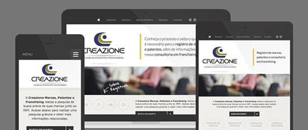 Design Responsivo criado para Creazione Marcas, Patentes e Franchising