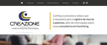 Site criado para Creazione Marcas, Patentes e Franchising