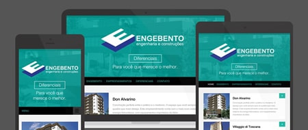Design Responsivo criado para Engebento Engenharia e Construções