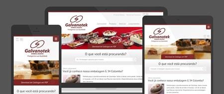 Design Responsivo criado para Galvanotek Embalagens