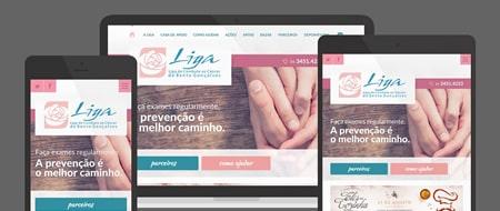 Design Responsivo criado para Liga de Combate ao Câncer Bento Gonçalves