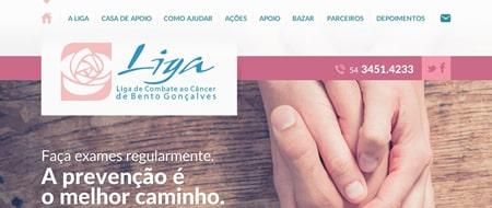 Site criado para Liga de Combate ao Câncer Bento Gonçalves