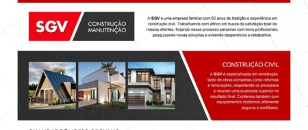 Site criado para SGV Construções