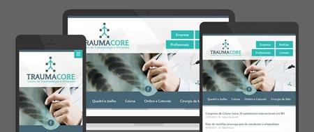 Design Responsivo criado para Traumacore - Centro de Traumatologia e Ortopedia