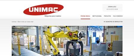 Site criado para Unimac Máquinas para Madeira